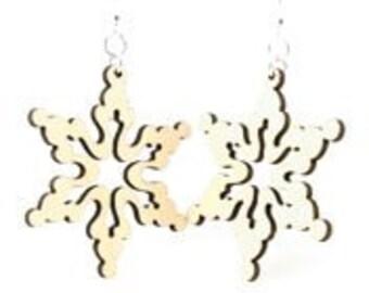 White Snow Flake - Laser Cut Wood Earrings