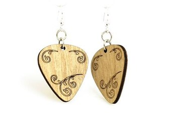 Guitar Picks - Wood Laser Cut Earrings