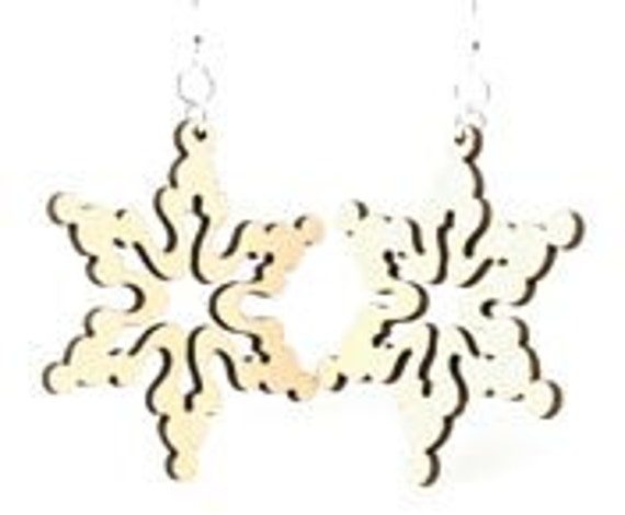 White Snow Flake - Laser Cut Wood Earrings