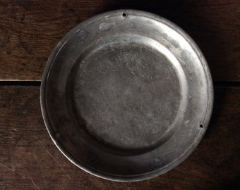 Antique French pewter plate with scale or hanging holes marked I.P.L.M circa 1700-1800's / English Shop