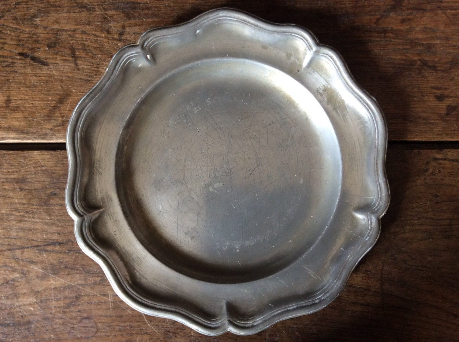 Antique Pewter Plates : Antique french pewter plate marked xii likely circa