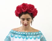 Large Red Rose Flower Crown, Day of the Dead Costume, Frida Kahlo Floral Crown, Dia de los Muertos Headpiece, Red Rose, Crown, Headband