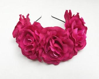 Pink Rose Headband, Mexican Headpiece, Pink Rose Crown, Fuchsia Pink, Rose Flower Crown, Floral Crown, Frida Kahlo, Pink, Fiesta, Boho