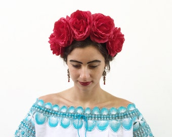 Large Red Rose Flower Crown, Day of the Dead Costume, Frida Kahlo Flower Crown, Dia de los Muertos, Floral Crown, Headpiece