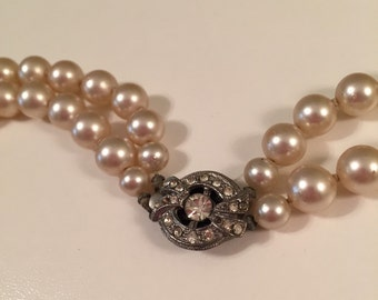 Vintage Double Strand Faux Pearl Necklace