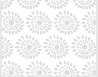 Last Piece  1 Yard of Urban Scandinavian White Background with Silver Grey Flower by Kirstyn Cogan for P & B Textiles