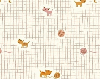 Tiger Lily Kittens and Yarn Pink by Heather Ross for Windham Fabrics