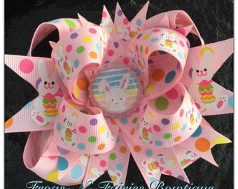 Pink Easter Bunny Bottlecap Hairbow