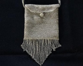 Sale Handmade Beaded Amulet Bag. Clear silver lined seed beads. Boho Hot Chick Chic, Trendy, classic. Perfect for PROM, WEDDING.