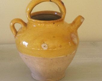 Antique French Glazed Terracotta Cruche Water Jug Ochre Glaze Water Jug Gargoulette