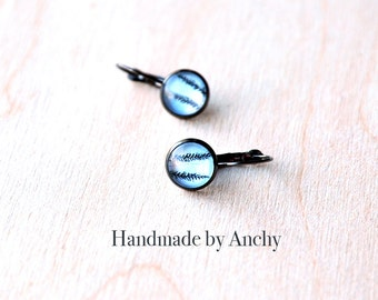 Grass against light blue background gun metal colored base dangle glass cabochon earrings/ Wearable Photo Art