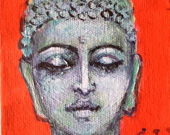 """Buddha  painting original art 4 x 4"""""""