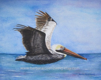 Pelican Print, Pelican Painting, Pelican Wall Art, Nautical Home Decor, Beach Print, Pelican Watercolor, Flying Brown Pelican, Bird Gift