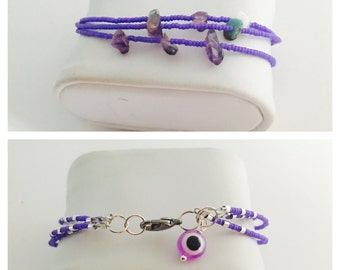 Evil Eye triple Bracelet, turkish Inspired, Amethyst beads, Purple /Violet, Hand Made in The USA, Item No. H025