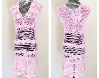 Pink Sleeveless Dress, Size M, Hand Crochet, Pool Cover up, Woman Fashion Made In The  U S A, Item No. DeBg10