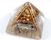 Orgonite Orgone Energy Generator Pyramid Tibetan Crystal, Tiger Eye, Rhodizite, Petalite, Selenite, Shungite, Tourmaline, Copper