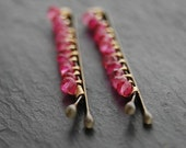 Bobby Pins, Hot Pink Quartz, Wire Wrapped, Hair Accessory, Fashion