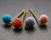 Felted Wool Bobby Pins, Antique Brass, Hair Accessory, ON SALE 50% OFF