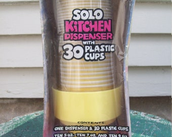 Vacation Sale Shipping Resumes 8/8 Vintage Yellow Solo Kitchen Cup Dispenser NIP