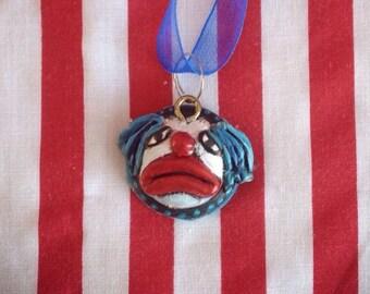Clown Head Face Pendant Necklace Miniature Dark Circus Freak Show OOAK Hand Sculpted Art