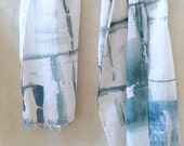 Blue Green Scarf, Teal Scarf, Shibori Scarf, Teal and White Scarf, Teal Watercolor Scarf, Lightweight Scarf, Cotton Scarf, Blue Cotton Scarf