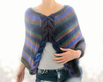 Sale  Unique multicolored Cape Hand Knitted  Wool  Poncho OOAK, Eco Friendly