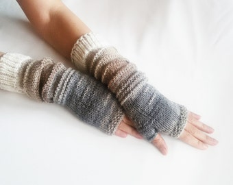 Knit Fingerless gloves | Knitted Fingerless Mittens | Arm Warmers | | Boho Glove |  Long Fingerless Multicolored gloves