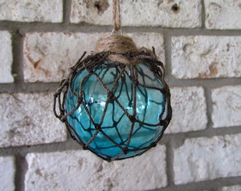 Blue Glass Fishing Float Christmas Ornament