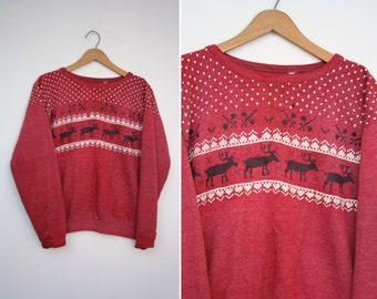 Vintage 80s DISTRESSED Holiday Reindeer Pullover Sweatshirt M L