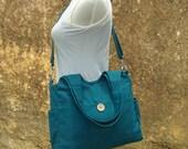 Teal green canvas shoulder bag, womens hand bag, canvas messenger bag, tote bag for women