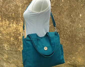 Teal green canvas shoulder bag, womens hand bag, canvas messenger bag, tote bag for women