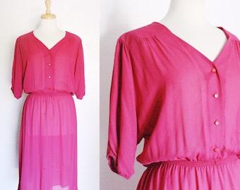 FREE SHIPPING//Fuschia magenta short sleeve dress | vintage 1970s | size medium large