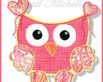 Elegant Owls Applique Set, 3 Sizes - Machine Embroidery