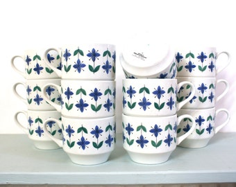 CLOSING DOWN SALE - 50% Off Set of Twelve Vintage Roselle Midwinter Cups & Sugar Bowl by Staffordshire Potteries of England