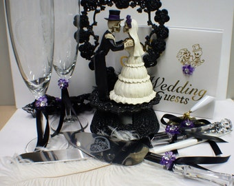 PURPLE Day of the DEAD Halloween Wedding Cake Topper LOT Glasses Knife Book Halloween