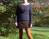 ON SALE - Women's Organic Wool Pleated Hip Hugger Sweater  - Shown in Eggplant - Made to Order