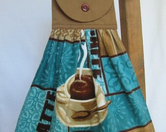 Kitchen Tea Towel Flawed Reduced Price Coffee Themed Hanging Kitchen Towel Latte Kitchen Towels SnowNoseCrafts