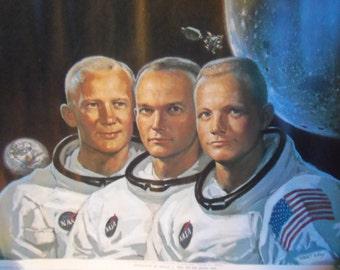 Vintage 1969 Apollo II Astronaut Poster Moon Neil Armstrong Collins Aldrin