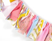 Pink, Coral, Blue, Yellow and Gold Girl's Birthday Party - Rag Banner - Photography Prop - First Birthday - Golden Birthday