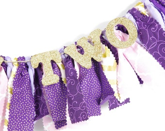 Sophia the First Birthday - Purple, Pink and Gold Banner for Girl's Birthday Party - Rag Banner - Garland - Photography Prop
