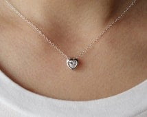 Heart Necklace, CZ Heart Necklace, bridesmaid gift, wedding jewelry,Cubic Zirconia