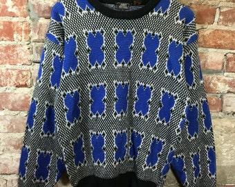 Vintage Sweater 1980's Retro Pullover Sweater Blue White Black Print