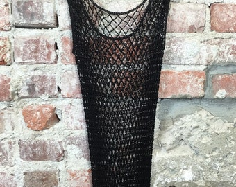 Vintage 90s Crochet Knit Beaded Flapper Dress in Black Size Small