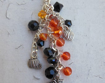 Halloween Pumpkin Beaded Crystal Purse Charm, Key Chain,  Jack o Lanterns, Orange and Black