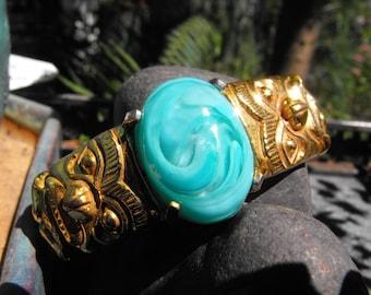 Turquoise glass gems gold plate or gold bracelet  Haida bracelet