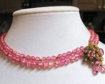 Early Miriam Haskell Pink glass seed pearl Diamond rose necklace Baroque dimpled pink glass beads