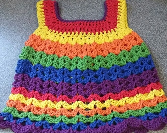 Crochet Rainbow Baby Dress Pattern, Rainbow, Baby Dress.