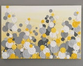 Yellow, Gray, and White Textured Flower Art, 24x30 Ready to ship, Modern Acrylic Painting