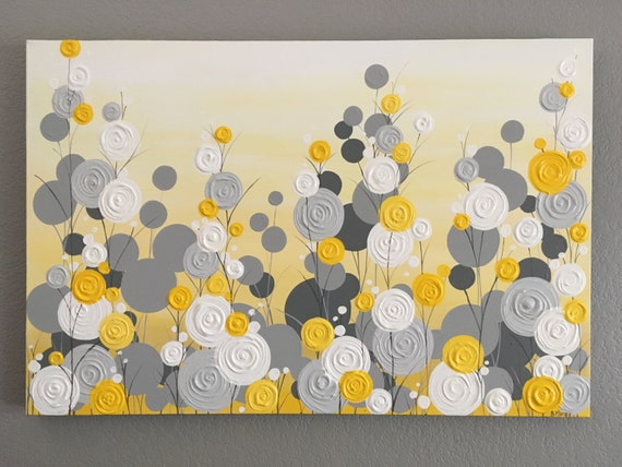 Items similar to yellow gray and white textured flower - Pintar marcos de cuadros ...