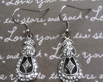 Gorgeous rhinestone buckle earrings